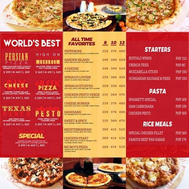 Pizza World, San Antonio Menu