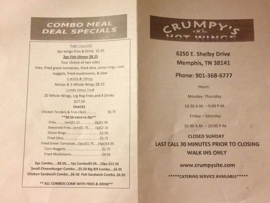 crumpy u0026 39 s hot wings menu  menu for crumpy u0026 39 s hot wings