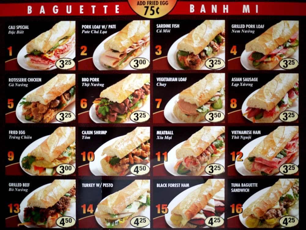 Banh Mi Bakery Cafe Menu