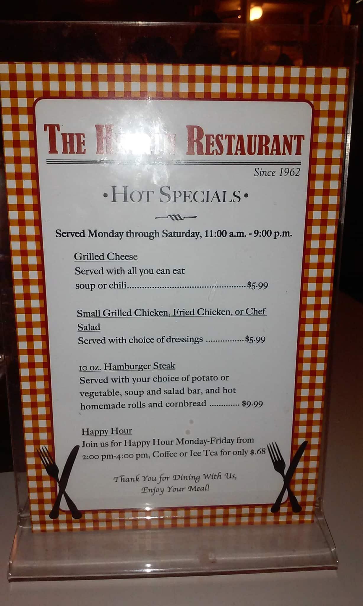 Hearth Restaurant Martin Menu
