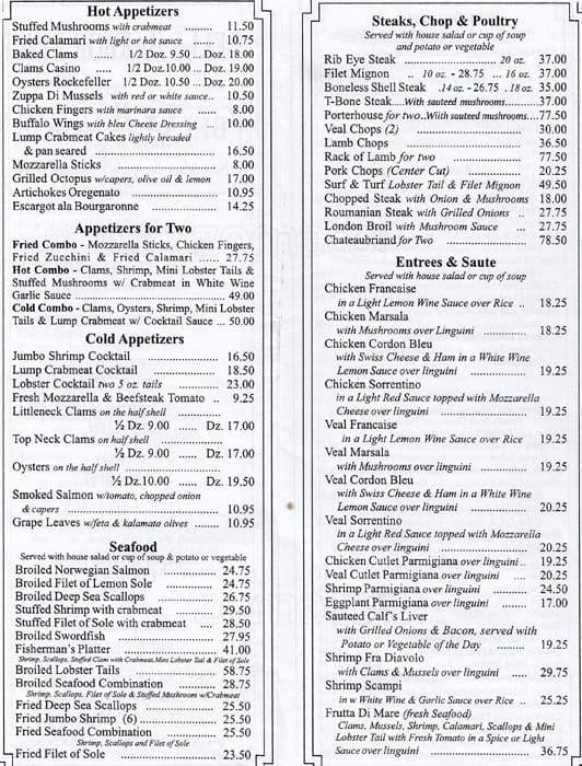 Belle Harbor Steakhouse Menu, Menu for Belle Harbor
