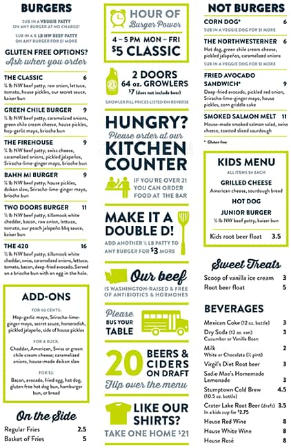 Two Doors Down Menu  sc 1 st  Zomato & Two Doors Down Menu Menu for Two Doors Down Madison Park Seattle ...