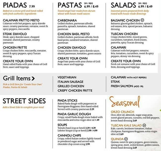 Menu at piada italian street food restaurant ann arbor - Italian cuisine menu list ...