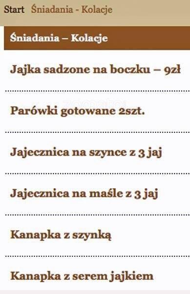 Kuchnia Polska Menu Menu For Kuchnia Polska śródmieście