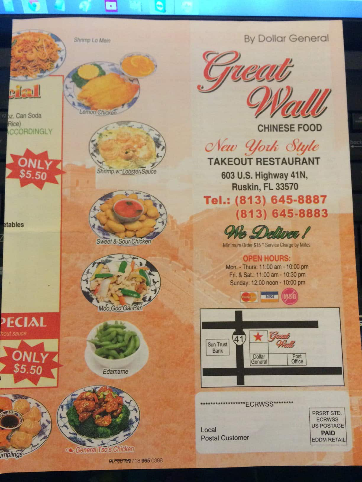 Great Wall Chinese Restaurant Ruskin Menu