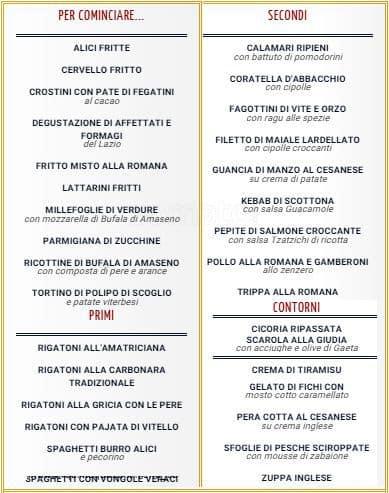 Il quinto quarto a roma foto del menu con prezzi zomato for Il quinto quarto