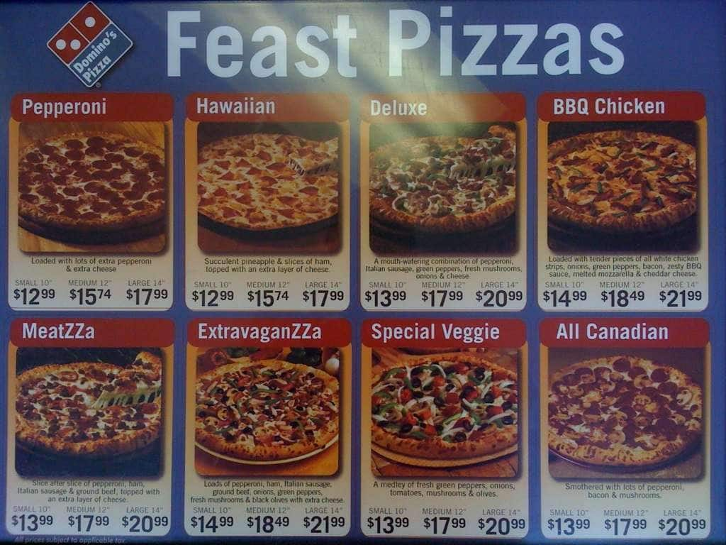 Domino's pizza menu
