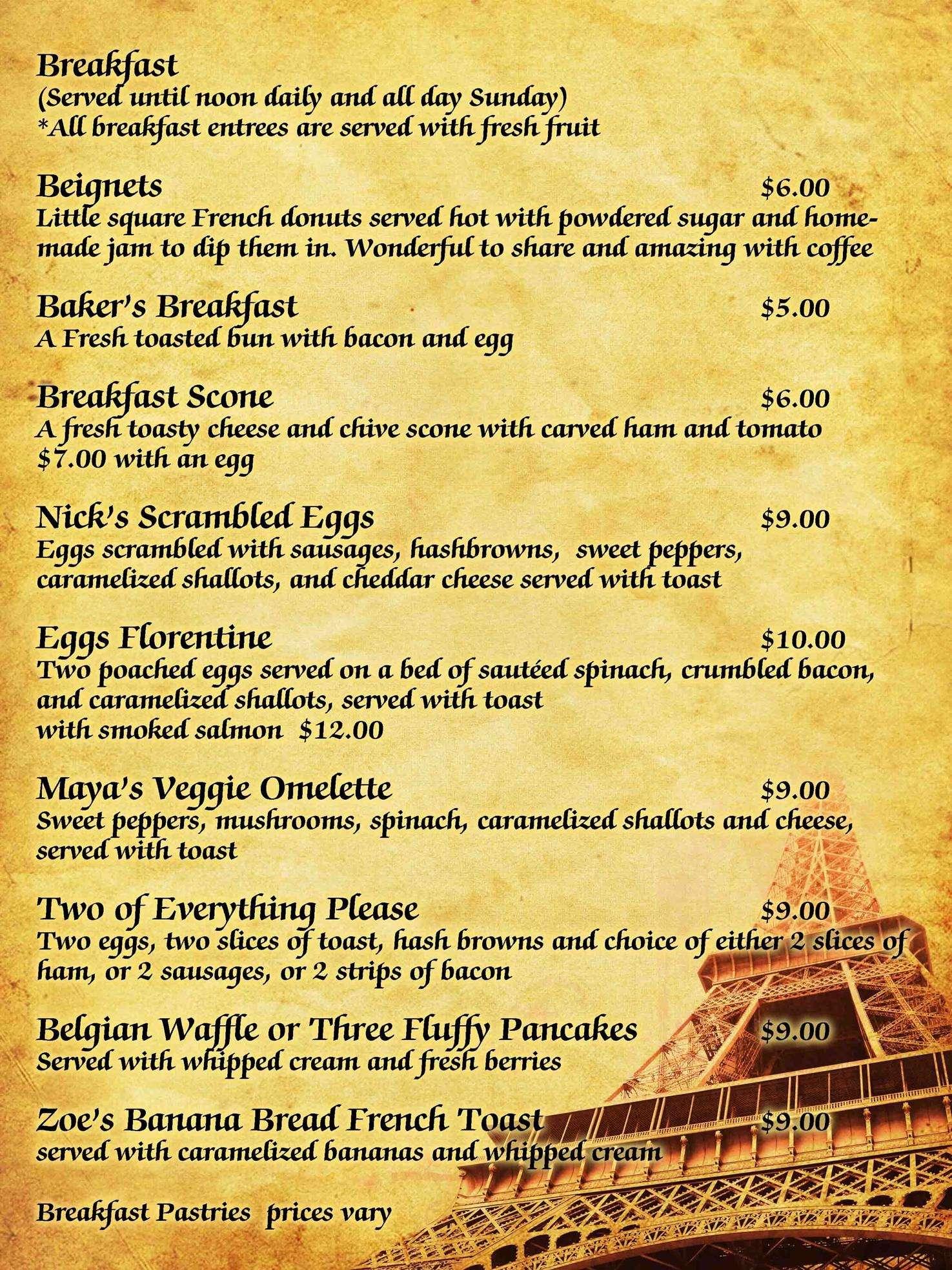 patisserie du soleil menu, menu for patisserie du soleil, woodbine