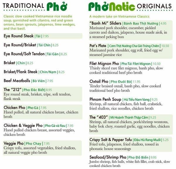 Menu At Phonatic Vietnamese Restaurant Cedar Park E Whitestone Blvd 200
