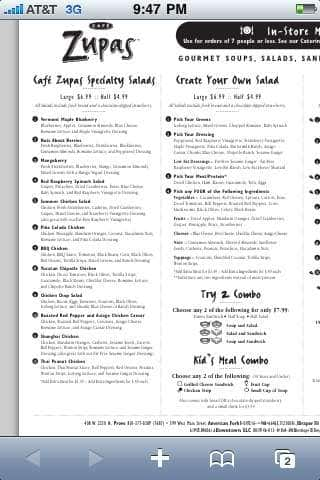 Cafe Zupas Menu Menu For Cafe Zupas Layton Salt Lake City