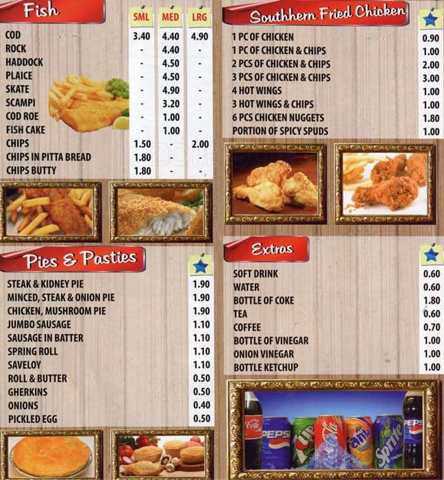 Charlie 39 s fish chips menu zomato uk for Two fish menu
