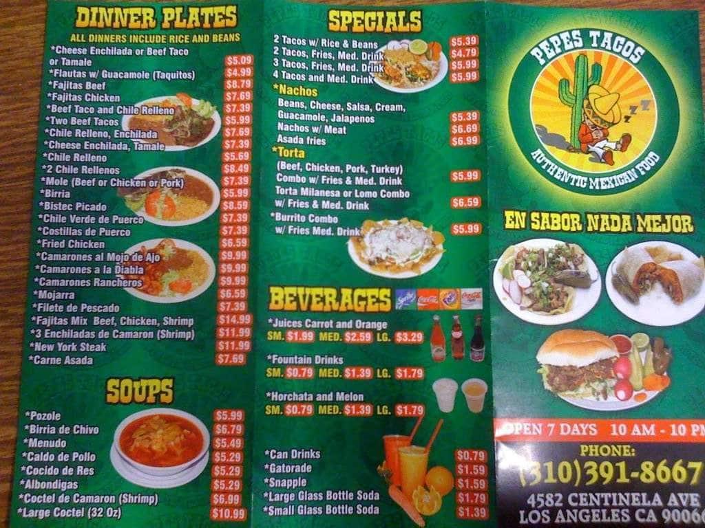 Pepe S Tacos Menu Menu For Pepe S Tacos Del Rey Los Angeles