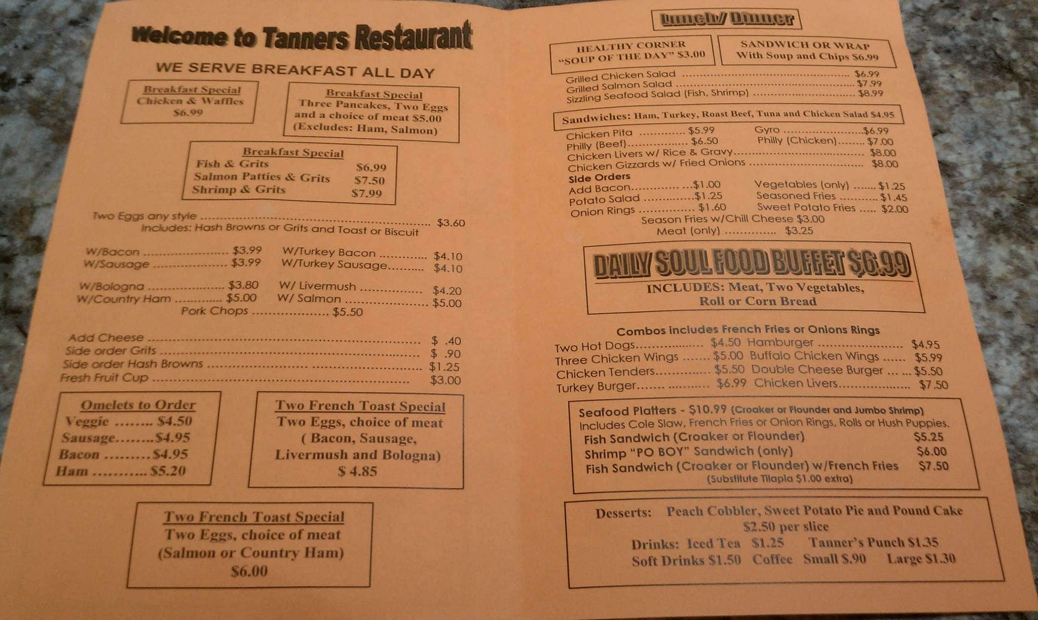Tanners snack bar menu menu for tanners snack bar north for Snack bar menu