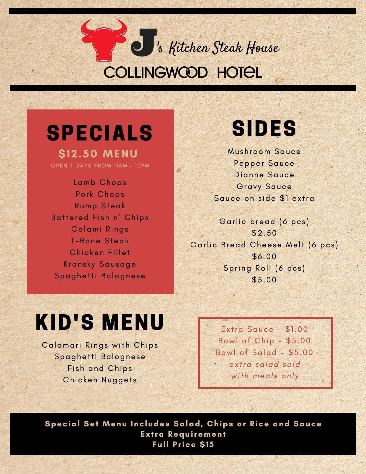 Js kitchen steak house collingwood hotel menu