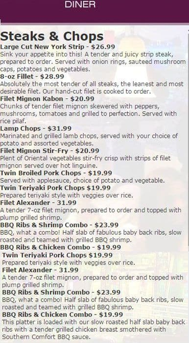 Landmark Diner, Buckhead Menu