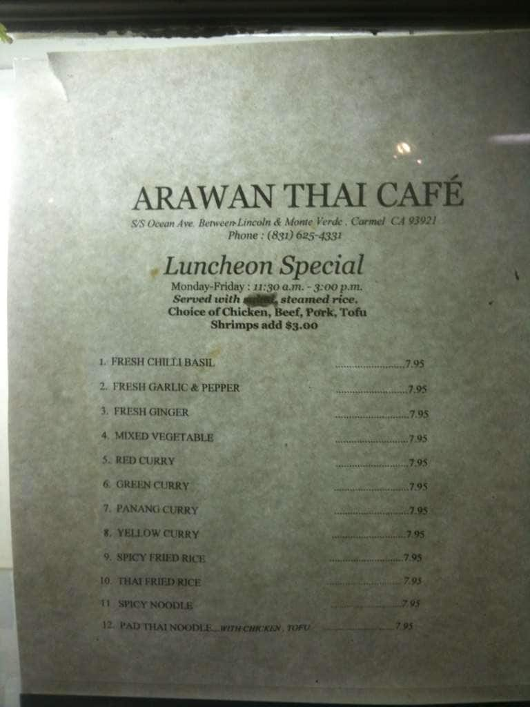 Arawan thai cafe menu menu for arawan thai cafe carmel for Arawan thai cuisine menu