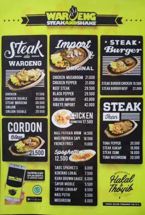 Waroeng Steak Shake Menu Menu For Waroeng Steak Shake