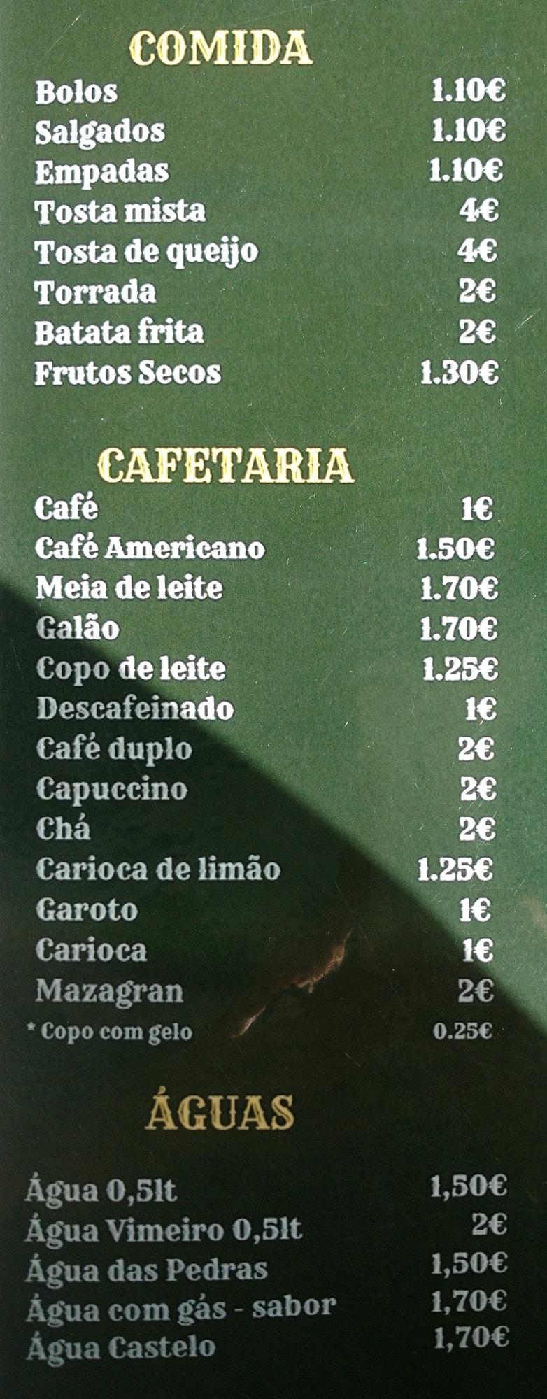 Adamastor quiosque do adamastor menu, menu for quiosque do adamastor