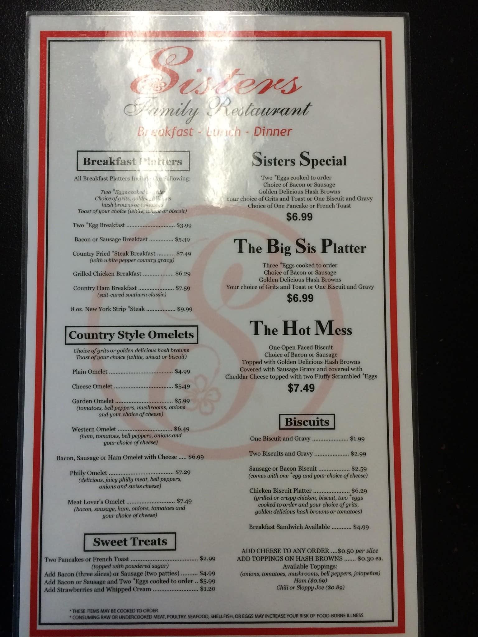 Sister S Family Restaurant Loganville Menu