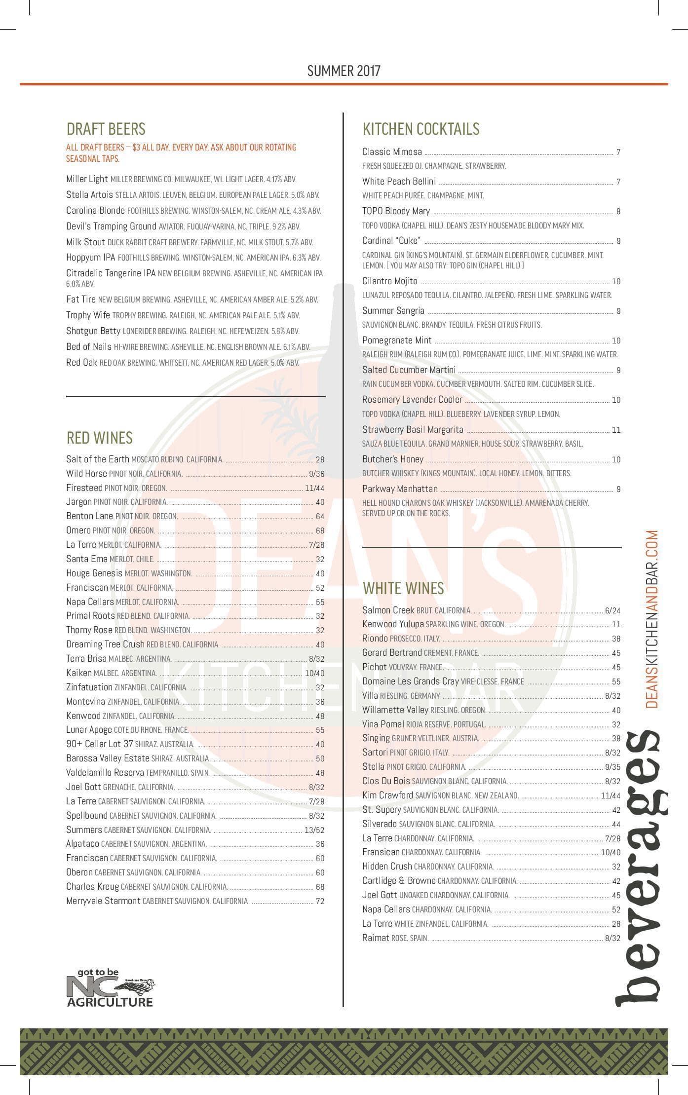 Dean\'s Kitchen+Bar Menu, Menu for Dean\'s Kitchen+Bar, Cary, Research ...