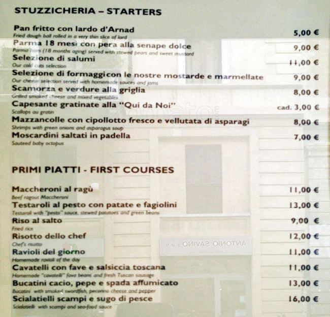 Osteria qui da noi a milano foto del menu con prezzi for Ristorante amo venezia prezzi