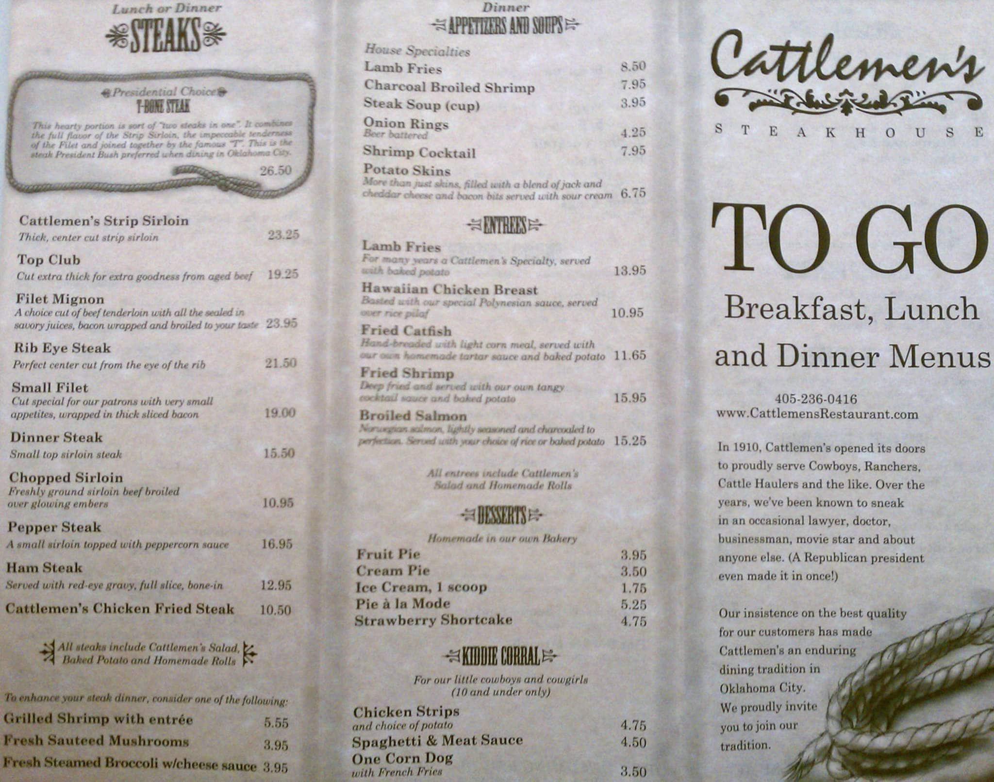 Cattlemen S Steakhouse Menu Urbanspoon Zomato