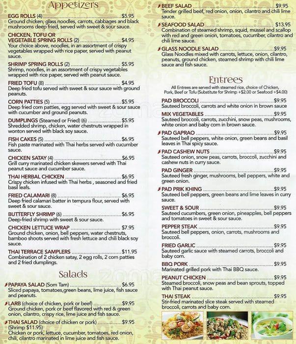 Thai terrace menu menu for thai terrace southwest fort for The terrace restaurant menu