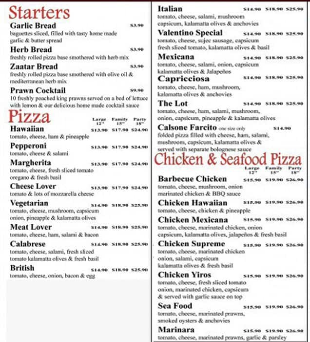 9e75166bc5b62 Valentino Pizza Cafe Menu, Menu for Valentino Pizza Cafe, Valley ...