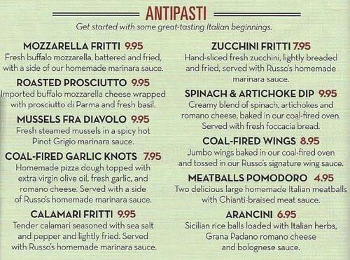 Russo 39 S Coal Fired Italian Kitchen Pizza Menu Urbanspoon Zomato