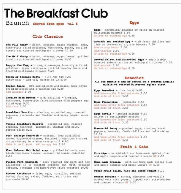 The Breakfast Club Menu Menu for The Breakfast Club  : e56e1a8e572549c6a7a4564ec384630d from www.zomato.com size 610 x 650 jpeg 103kB