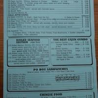 Baytown Seafood Restaurant Pasadena Menu