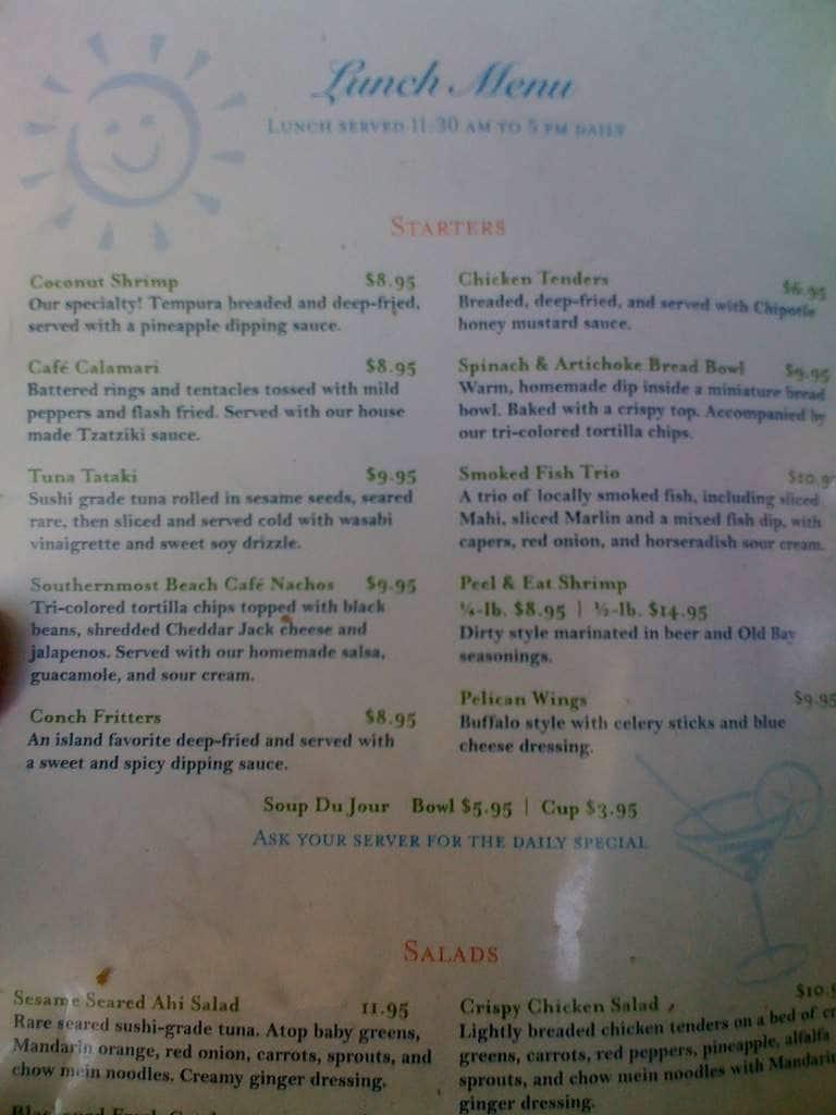 Southernmost Beach Cafe Breakfast Menu