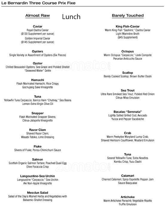 Le Bernardin Menu, Menu for Le Bernardin, Gramercy, New York City ...