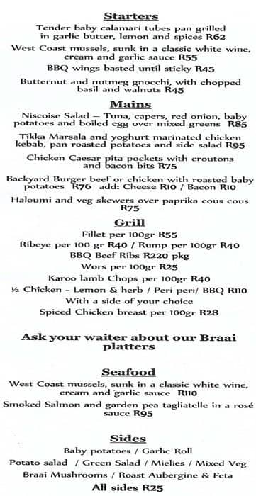 The Backyard, Sea Point Menu
