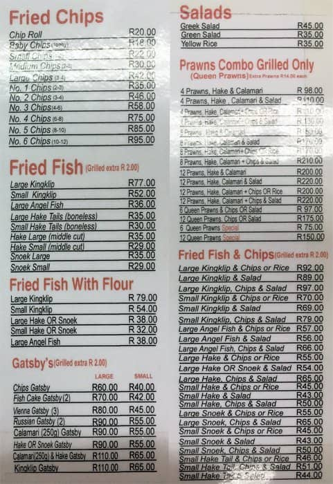 mr fish menu menu for mr fish pinelands cape town