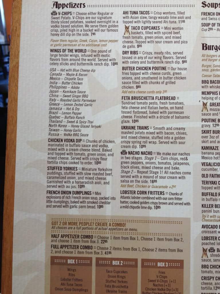 Birmingham 39 s vodka and ale house menu urbanspoon zomato for Food bar menu birmingham
