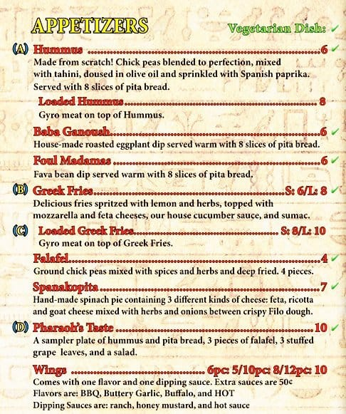Pharaoh S Grill Menu Menu For Pharaoh S Grill Cookeville