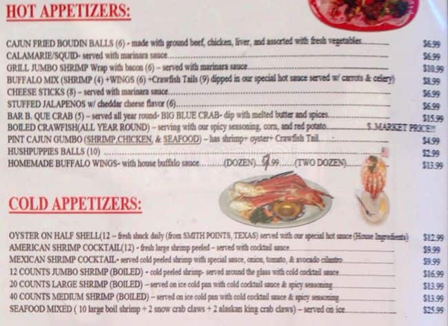 Baytown Seafood Menu