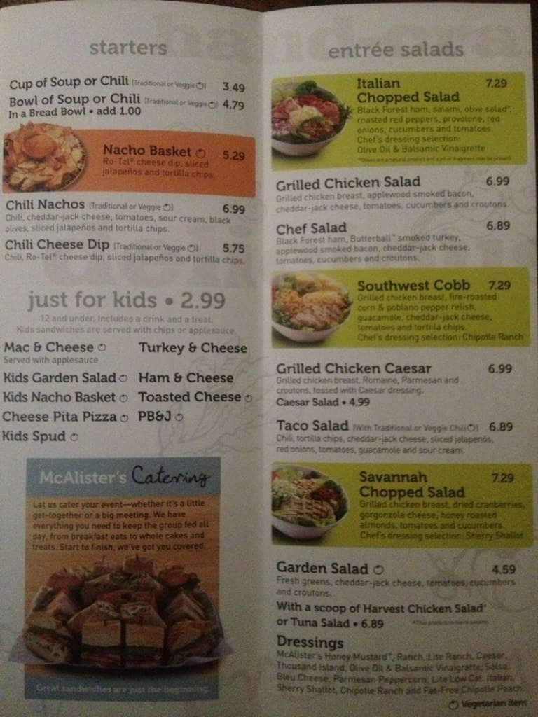 This is a photo of Stupendous Mcalisters Deli Printable Menu