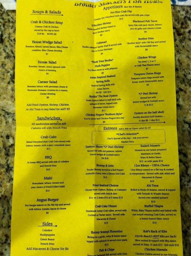 Brother shuckers fish house menu urbanspoon zomato for Fish house menu