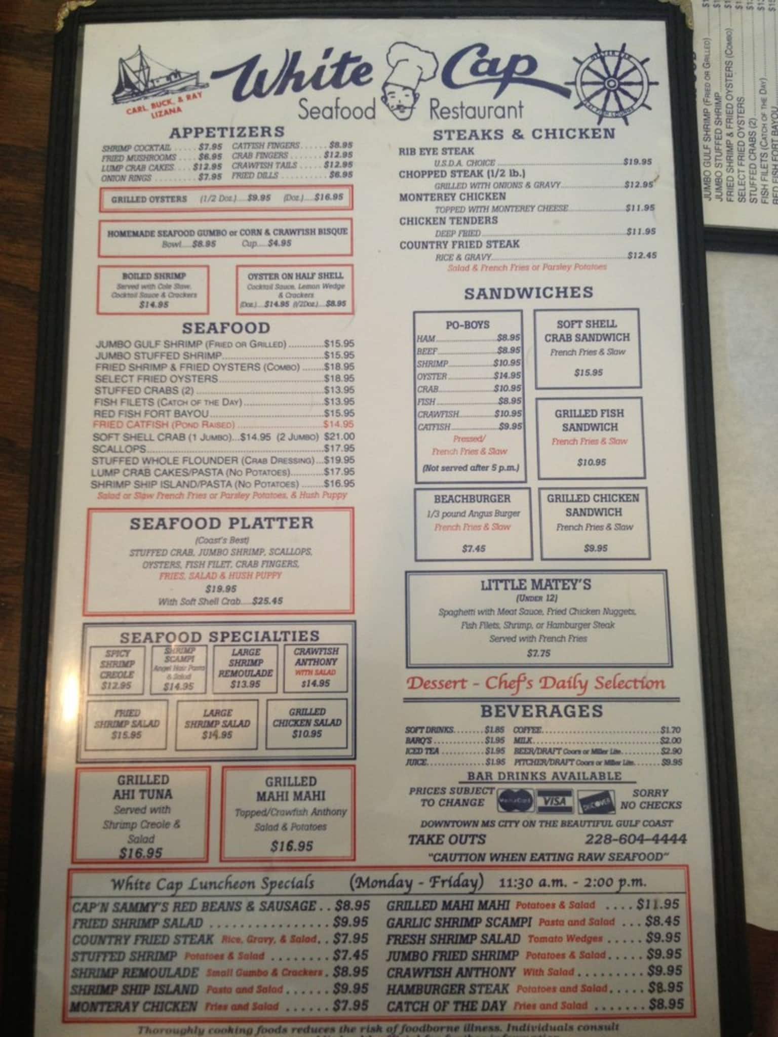 White Cap Seafood Restaurant Gulfport Menu