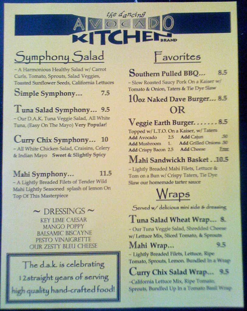 dancing avocado kitchen menu, menu for dancing avocado kitchen