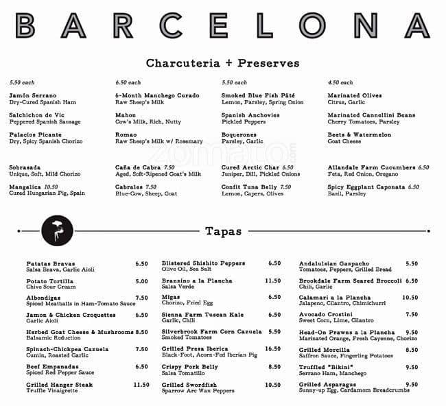 Barcelona Wine Bar South End Menu