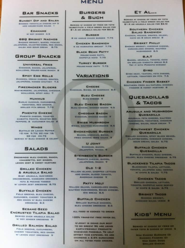 Universal Joint Menu >> Universal Joint Menu Menu For Universal Joint Chattanooga