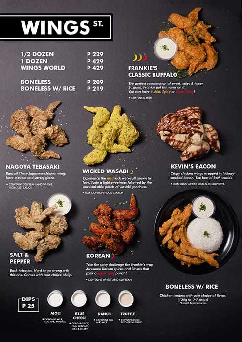 Frankie S New York Buffalo Wings Menu Zomato Philippines