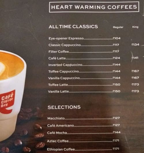 Cafe Coffee Day Panchwati Menu