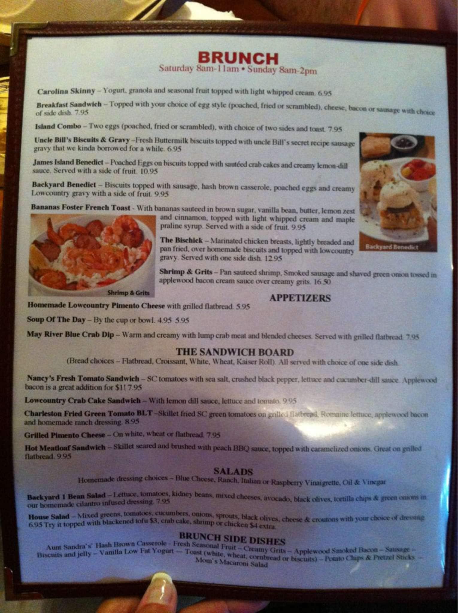 menu at a lowcountry backyard restaurant 32 palmetto bay rd 4a