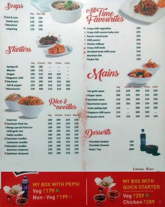 Wangs Kitchen India Menu