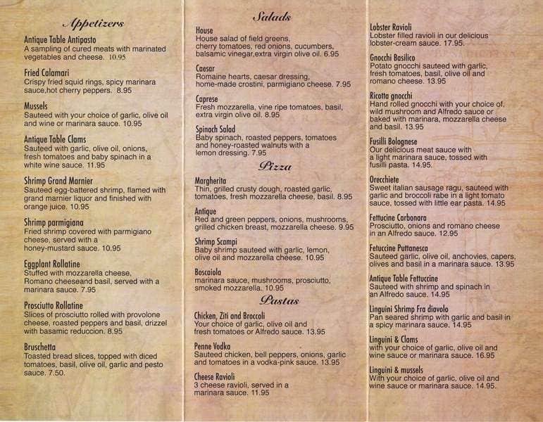 Menu at antique table restaurant lynn for Table 9 menu