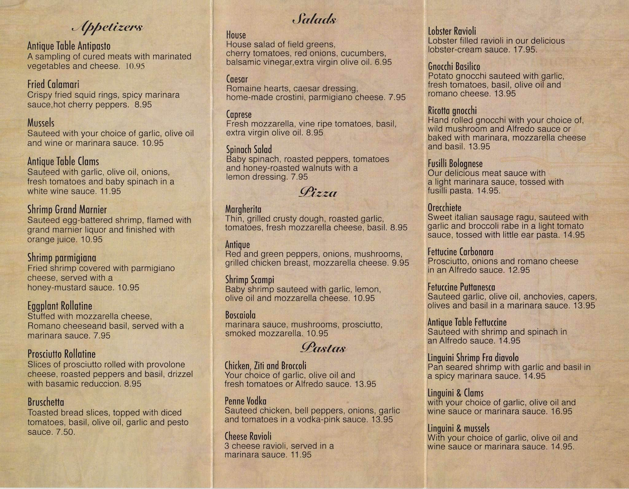 Menu at antique table restaurant lynn for Table cafe menu